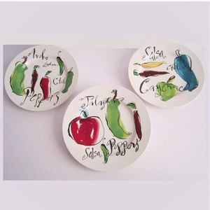 Chili Peppers Salad Dessert Plates 3 count